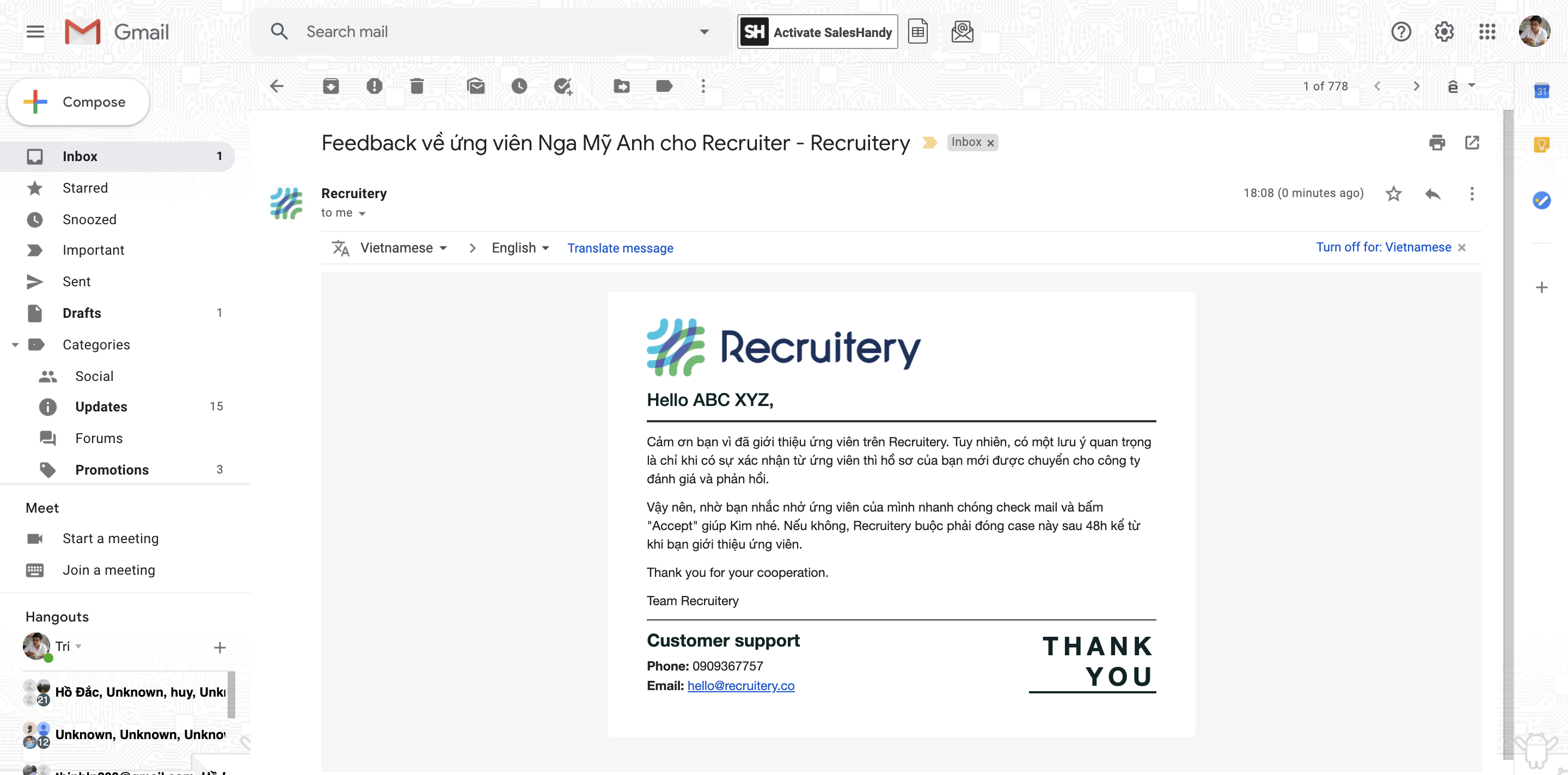 Email hunter - Recruitery