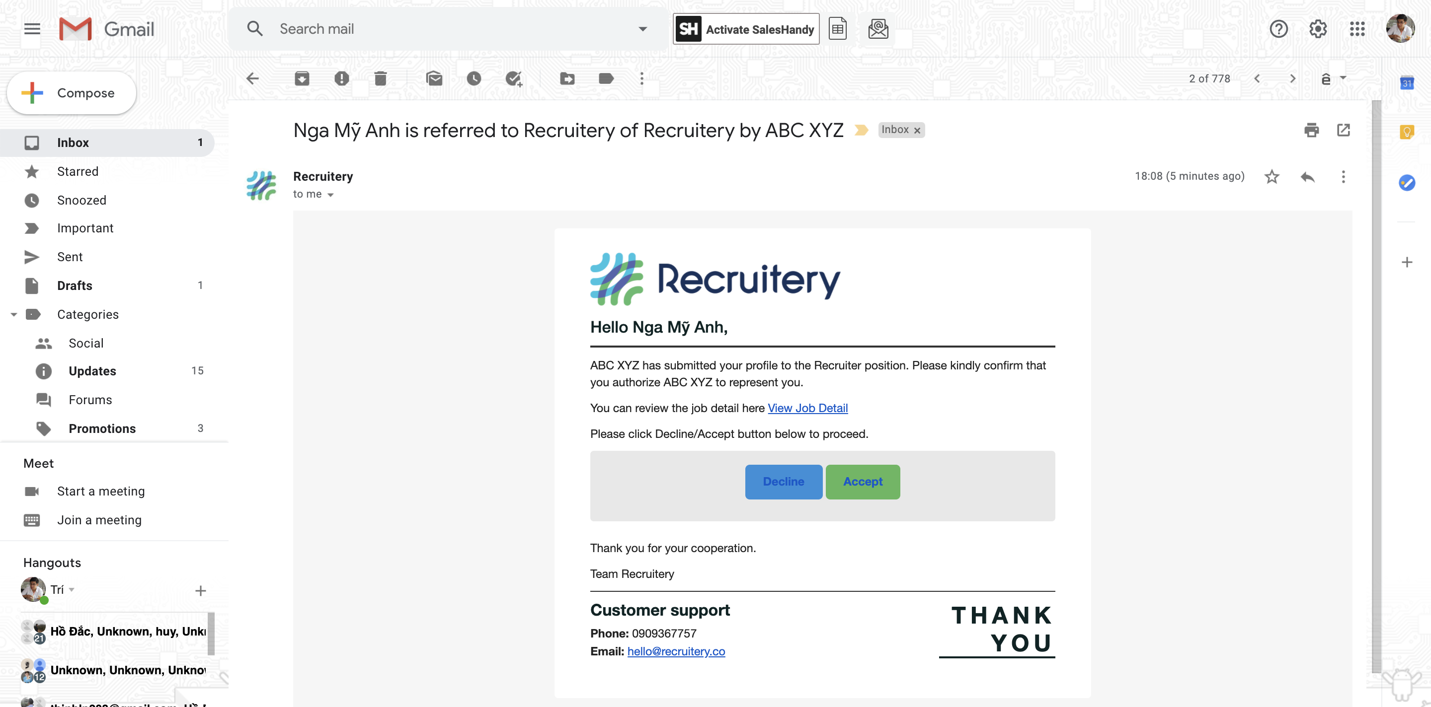 Accept offer - Recruitery